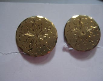 A&Z 1/20th 12Kt Gold Filled Screw Back Earrings with Etched Flowers on Disc