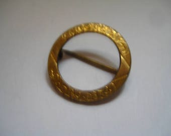 Antique Victorian or Edwardian Circle Pin with Gold Topping Etched Design