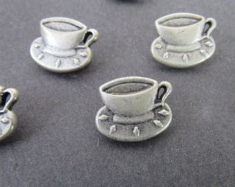 4 Metal Shank Tea Cup Buttons