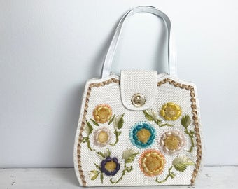 Large Vintage White Straw Woven Bag with Flower Accents