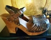 Tobacco Brown MIA Leather Strappy Wooden Clog Sandals 8
