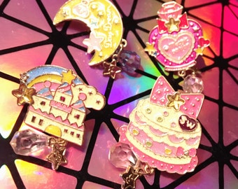 Castle, Cake, Perfume Or Moon Sweet Lolita Decorative Enamel Pin With A Holographic Teardrop Charm