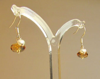 Gold Swarovski & Pearl Pendant Earrings