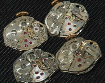 4 Vintage Watch Movements Parts Steampunk Altered Art Assemblage R 85