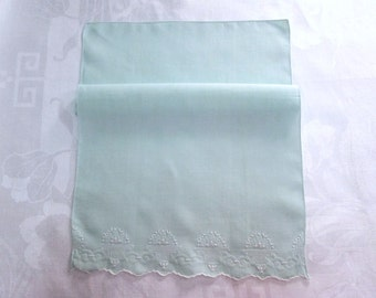 Vintage Guest Towel Jadeite Green Embroidered Antique Linens Bath Tea Hand Towel Shabby Cottage Chic Bathroom Decor Shadow Work Drawn Thread