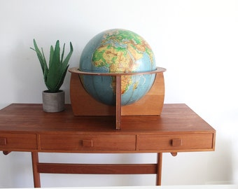 """1960s Giant Globe on Wooden Stand Cartocraft Physical-Politcal 16"""" Globe"""