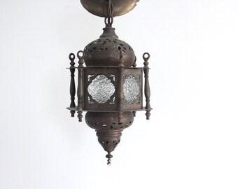 Pierced Brass & Glass Moroccan Hanging Chandelier Pendant Light