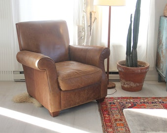 Worn Leather Club Chair