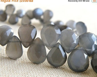 Final 51% off Sale Grey Moonstone Gemstone Briolette Faceted Pear Teardrop 9 to 10mm 18 beads