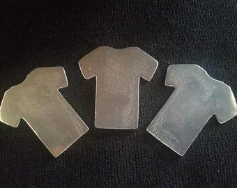 Pewter Stamping Blanks - T-Shirts - Qty 3, Bopper, Rustic Hand Casted Pewter Shapes, Pewter Shapes, 16 Gauge Blanks, Pewter Blanks,