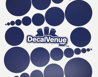 Navy Blue Polka Dot Circles Wall Decals - Various sizes - Mix and Match dots vinyl stickers