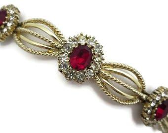 Coro Rhinestone Bracelet - Vintage, Ruby Red Rhinestones, Costume Jewelry