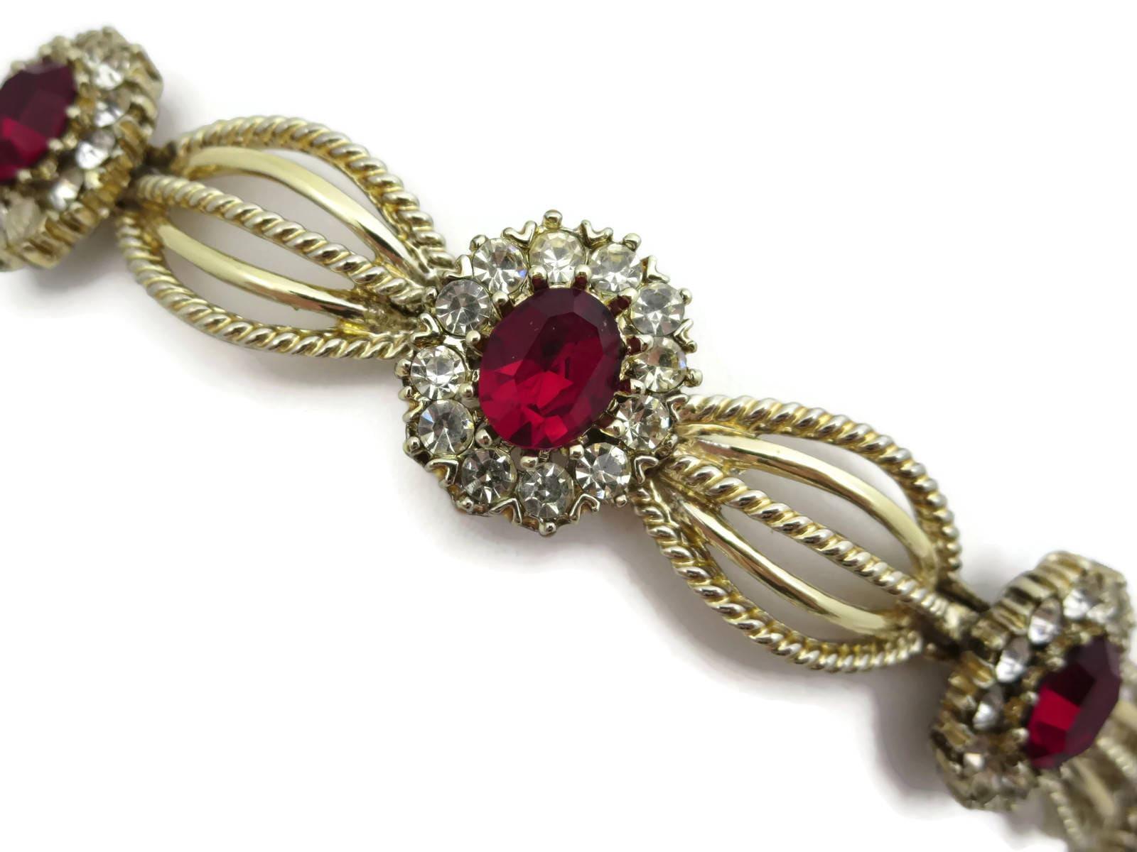 Coro Rhinestone Bracelet - Vintage Ruby Red Rhinestones Costume Jewelry  sc 1 st  Get Trendy Fashion Men u0026 Women online Furniture Bedding Jewelry ... & Coro Rhinestone Bracelet - Vintage Ruby Red Rhinestones Costume ...