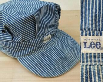Vintage Denim Hat  //  Vtg LEE Made in the USA Distressed Hickory Stripe Cap