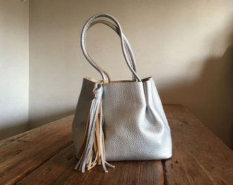 Hand Stitched Simple Leather Lily of The Valley Tote Bag - Silver -