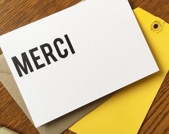 Merci - Text Cards - Greeting Card - Thank You, Stationery