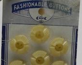 "Set 7 Sweet Art Deco 1930s Carved CELLULOID FLOWER House Dress BUTTONS on Original Card  5/8"" 15 mm"
