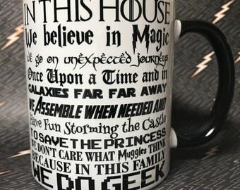 In this house we do geek coffee mug