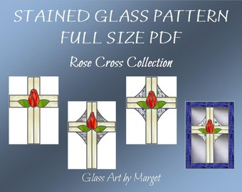 Stained Glass Pattern PDF File Original Rose Cross Patterns Full Size Four Variations
