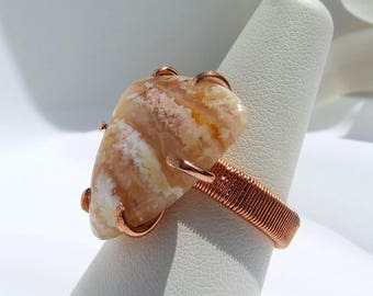 Plume Agate Ring, Regency Rose, copper ring, natural stone, yellow pink stone, hand cut, hand polished, prong set