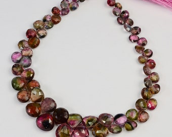 Fine Watermelon Tourmaline Faceted Heart Briolette Bead 9.2 inch strand