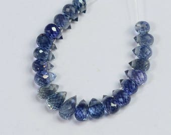 Natural Light Blue Sapphire Faceted Teardrop Briolette Beads (23)