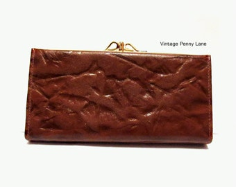 Vintage Ferree Leather Wallet Clutch, Brown / Gold