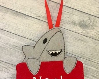 Adorable shark personalized felt Christmas ornament