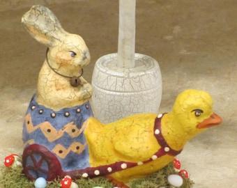 Paper mache Easter Chick Pulling Easter Bunny Rabbit Egg Cart
