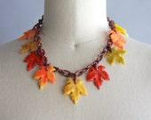 1930s Celluloid Necklace / Vintage 30s Novelty Leaf Necklace / Thirties Celluloid Leaf Statement Necklace
