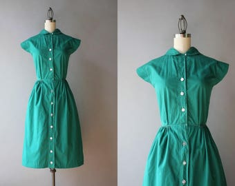 1940s Dress / Vintage 40s Green Cotton Dress / 40s 50s Peter Pan Collar Day Dress S small