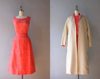 1960s Dress Set / Vintage 60s Coral Silk Blouse Skirt Jacket and Shoes / 1950s Fitted Thai Silk Dress with Reversible Clutch Coat XS S small