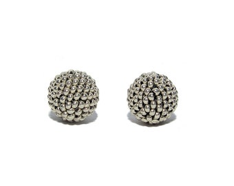 Silver color beaded beads handmade 14mm beads 2pcs
