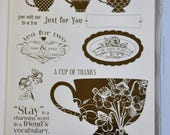 Stampin' Up! Tea Shoppe Cling Mount Stamp Set - 10 Stamps