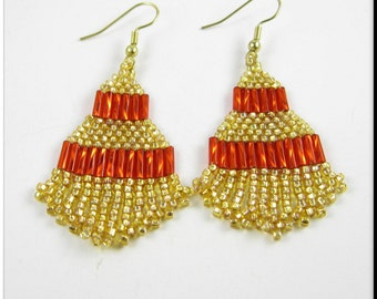 Native American Inspired Beadwork Seed Bead Earrings in Small Gold and Red Fringe