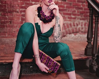 Ultimate Pantsuit-Jumpsuit-Emerald Green/Black available-Sexy and sassy--Party outfit-clubbing-Alternative bridesmaids-Crboggs Designs