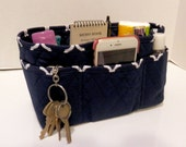 "Purse Organizer Insert/4"" Depth Enclosed Bottom/Quilted/ Navy and White"