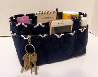 """Purse Organizer Insert/4"""" Depth Enclosed Bottom/Quilted/ Navy and White"""