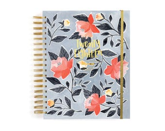 2018 17 Month Blue Floral Planner // 1canoe2