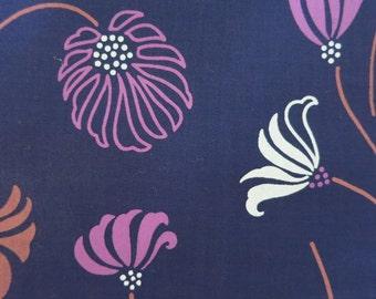 Graphic Flowers - Half Yard - Hand printed Cotton Fabric