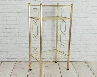 Vintage Gold Toned Wire Three Tier Mid Century Magazine Telephone Plant Stand Table Shelf