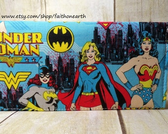 Girl power Handmade checkbook cover /wallet wonder woman batgirl supergirl