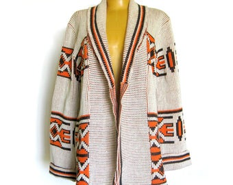 1970s Boho Hippie Cardigan Sweater Southwest Geometric Pattern in Orange and Brown / Festival Sweater / Chris Ann Originals