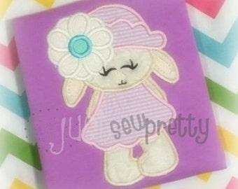 Daisy Bunny Girl Embroidery Applique Design
