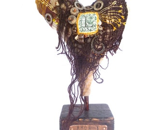 Amor I soft sculpture, fiber art, fabric collage, free style embroidery, textile art, home decor, self standing art object, up cycled