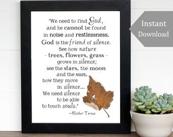 Inspirational Printable - We Need To Find God - Printable Art - 8x10 - Mother Teresa Quote, Nature Print, Silence Quote, Peace, Stars, Moon