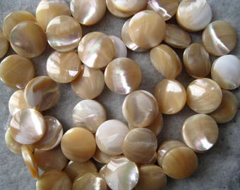 """4 Strands Mother of Pearl Shell Beads 15mm Coin 16"""" Strands 108 Beads"""