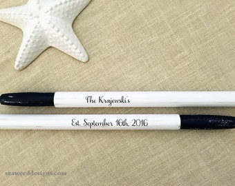 """59"""" Personalized Pair Painted Striped Oars (2) Nautical Wedding Guest Book Bride and Groom Names and Wedding Date / Beach Wedding Paddles"""