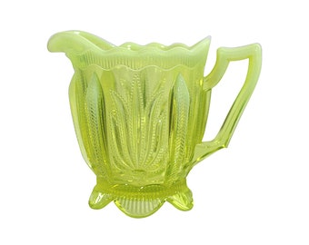 Creamer Lime Green with Custard Glass Rim | Vintage Depression Glass | Antique Home Decor | Country Living Style