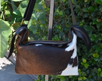 Black, Brown and White Cow Hair Hide and Hand Stained Leather Duffle Tote